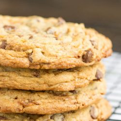 Loaded Butterfinger Chocolate Chip Toffee Cookies recipe