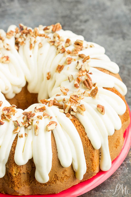 There's nothing like biting into a fresh-baked Pecan Banana Cake Mix Cake! Easy, simple, homemade goodness baked with pecans and topped with a delicious maple cream cheese frosting, and toasted pecans. This cake is perfect for any and every occasion!