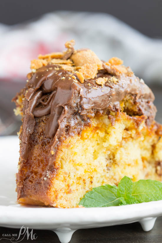 Cake Mix Butterfinger Pound Cake with Chocolate Ganache is a buttery and tender cake loaded with Butterfinger candy bars.