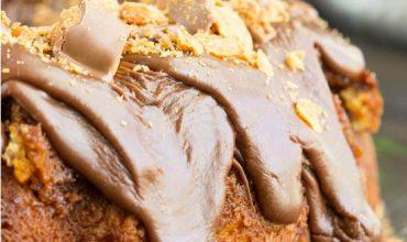 Cake Mix Butterfinger Pound Cake with Chocolate Ganache