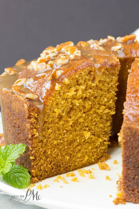 Praline Glazed Pumpkin Pound Cake recipe- It's cozy, comforting, and it's hard to resist nibbling on just one more piece