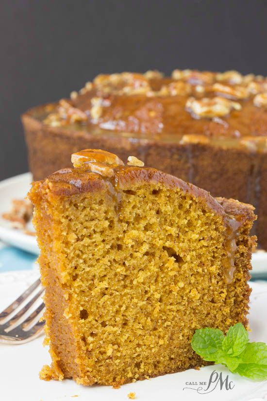 Praline Glazed Pumpkin Pound Cake -This delicious and moist pumkin spice pound cake will be the talk of your next potluck!