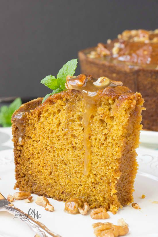 Praline Glazed Pumpkin Pound Cake - most searched pumpkin recipe! This will be the talk of your potluck!