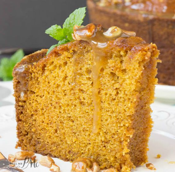 Praline Glazed Pumpkin Pound Cake is easy to make and super moist. #pumpkin #cake #pumpkincake #poundcake #bundtcake