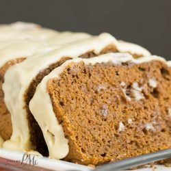 3 Ingredient Chocolate Pumpkin Bread Recipe with Browned Butter Maple Glaze is moist, soft, and not overly sweet... except for the delectable Browned Butter Maple Glaze!