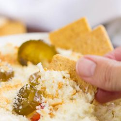 Jalapeno Feta Dip is creamy, tangy, and spicy. It's packed with flavor, topped with crispy breadcrumbs, and baked to dipping perfection!