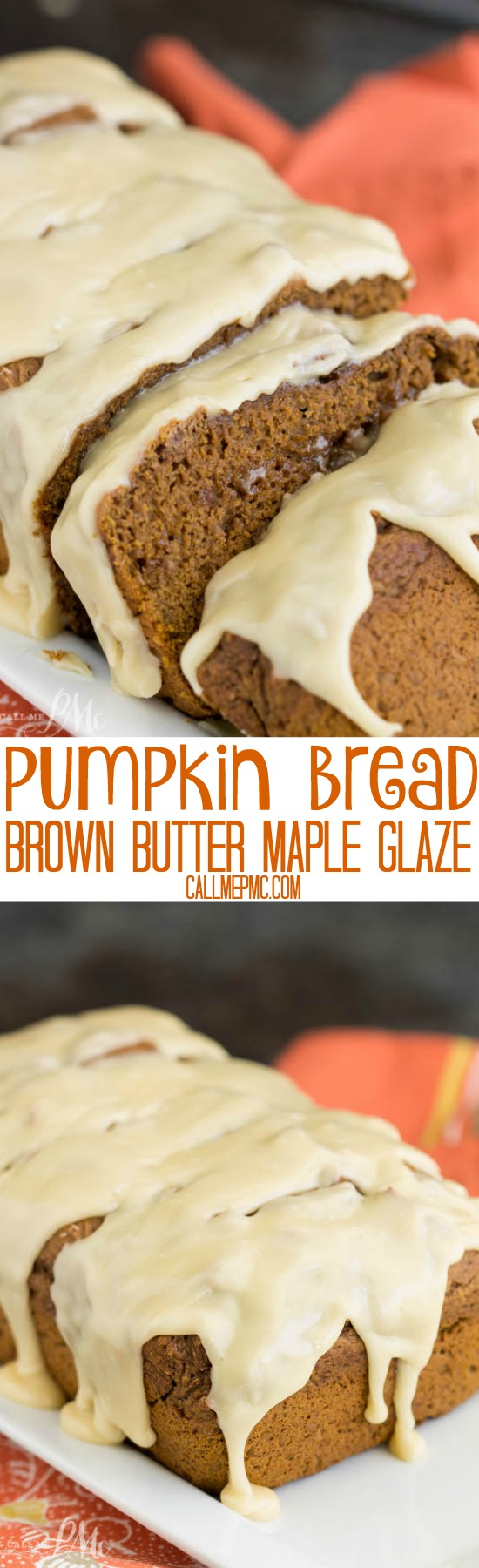 Chocolate Pumpkin Bread Recipe with Browned Butter Maple Glaze is moist, soft, and not overly sweet... except for the delectable Browned Butter Maple Glaze!
