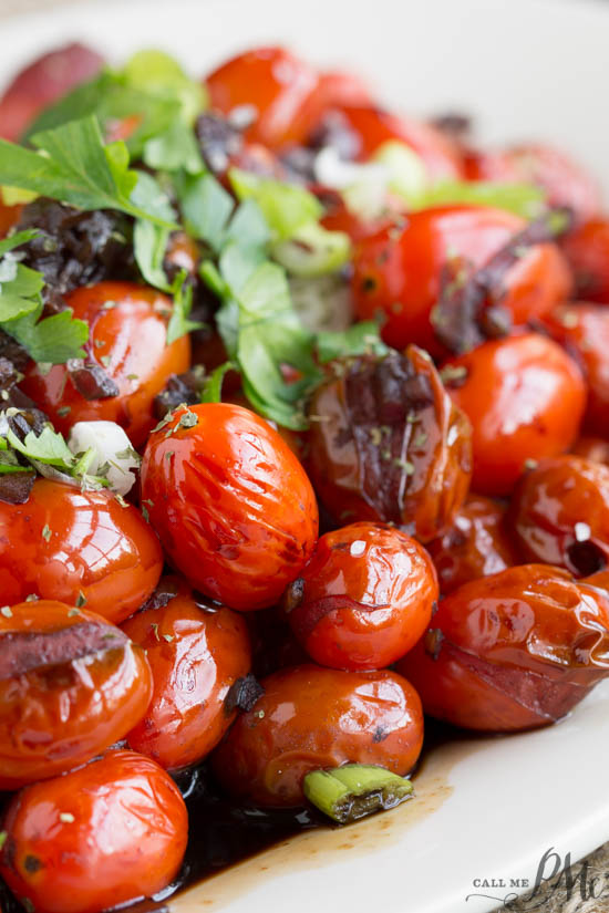 Blistered Grape Tomatoes are a tasty and healthy side dish that literally takes less than 10 minutes to make! #vegetables #tomatoes #recipe #easy #sidedish via @pmctunejones