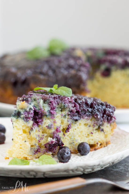 Homemade Blueberry Upside-down Cake is unbelievably good. Blueberries and a caramel glaze ooze down into the tender yellow cake making it moist and decadent. This cake recipe has quickly become one of my all-time favorites!
