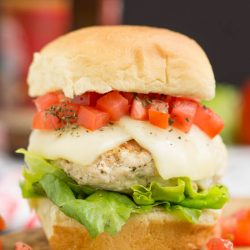 Bruschetta Turkey Burger Sliders ground turkey burgers are topped with the classic tomato bruschetta and mozzarella cheese and balsamic mayonnaise.