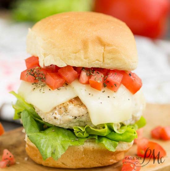 Bruschetta Turkey Burger Sliders ground turkey burgers are topped with the classic tomato bruschetta and mozzarella cheese and balsamic mayonnaise.