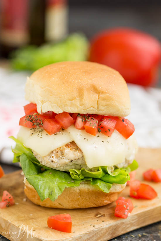 Bruschetta Turkey Burgers slider recipe with ground turkey