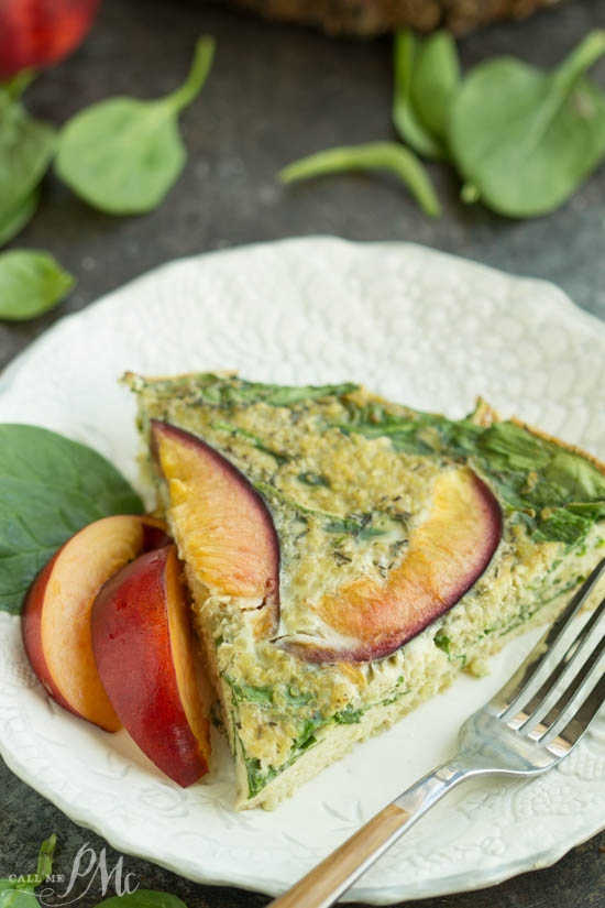Apricot Spinach Quinoa Crustless Quiche Recipe is a delicious, healthy, nutrient-dense breakfast or brunch that's full of fresh flavors!