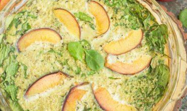 Apricot Spinach Quinoa Crustless Quiche Recipe