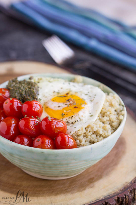 Blistered Grape Tomatoes and Pesto Quinoa Bowl is a simple, delicious, and nutritious entree recipe.