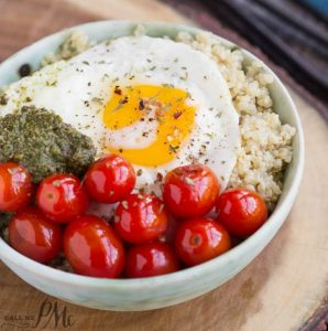 Blistered Grape Tomatoes and Pesto Quinoa Bowl healthy