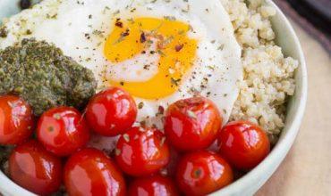Blistered Grape Tomatoes and Pesto Quinoa Bowl