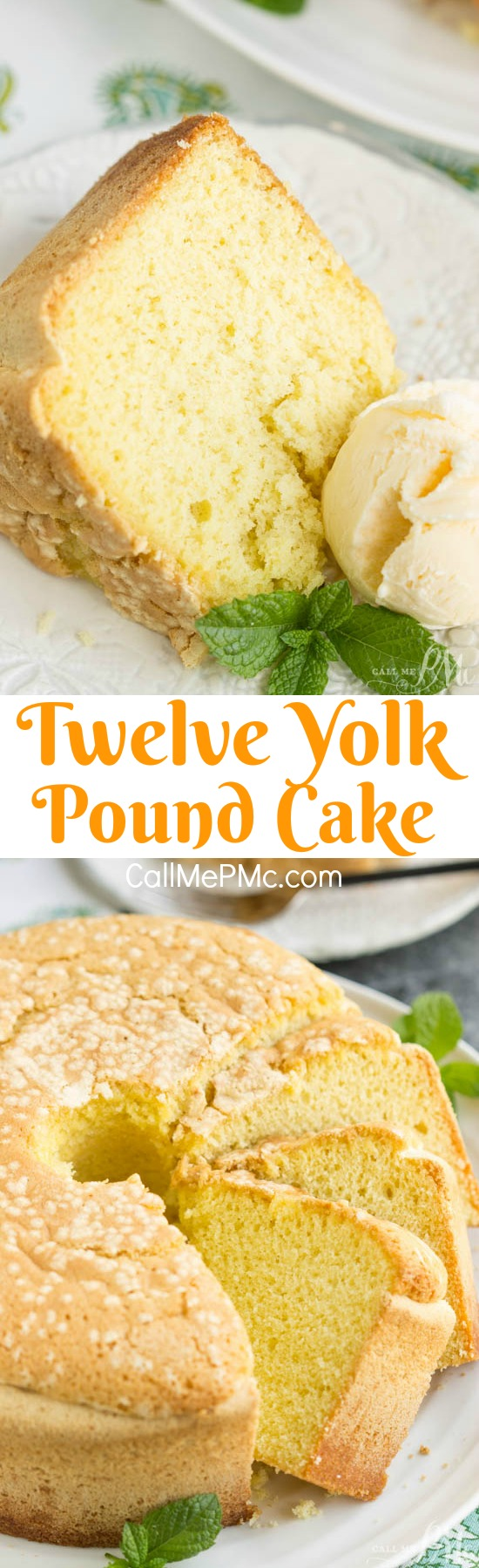 A great use of leftover egg yolks, Twelve Yolk Pound Cake, is golden and creamy. A great basic cake that's not overly sweet. Serve this with a good vanilla ice cream and rich caramel sauce. Twelve Yolk Pound Cake is versatile, buttery, and delicious.