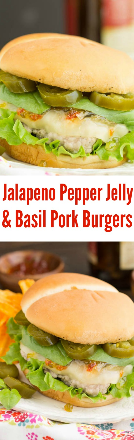 Spicy Jalapeno Pepper Jelly and Basil Sauce Pork Burgers is a fresh and delicious spin on a hamburger recipe. A peppery and spicy sauce beautifully flavors ground pork burgers.