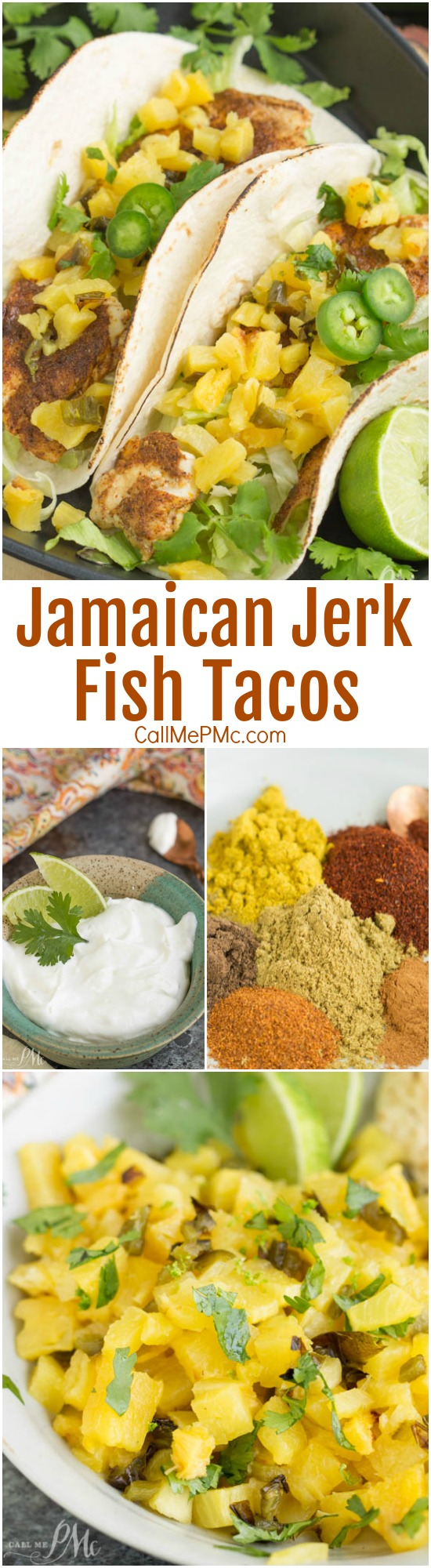 Spicy, sweet, and super flavorful, Caribbean Jamaican Jerk Fish Tacos with Lime Crema, are easy, delicious, and bursting with a complex mix of flavors.