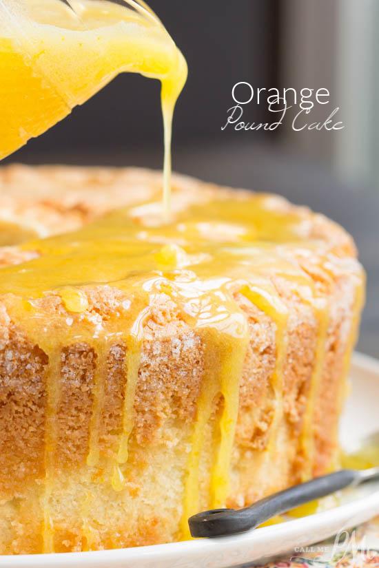 Scratch-made Orange Zest Pound Cake with Orange Curd is buttery and soft with a light citrus flavor.  #cake #poundcake #Southern #poundcakepaula #recipe #dessert #fromscratch #homemade #moist #orange #citrus #curd  via @pmctunejones