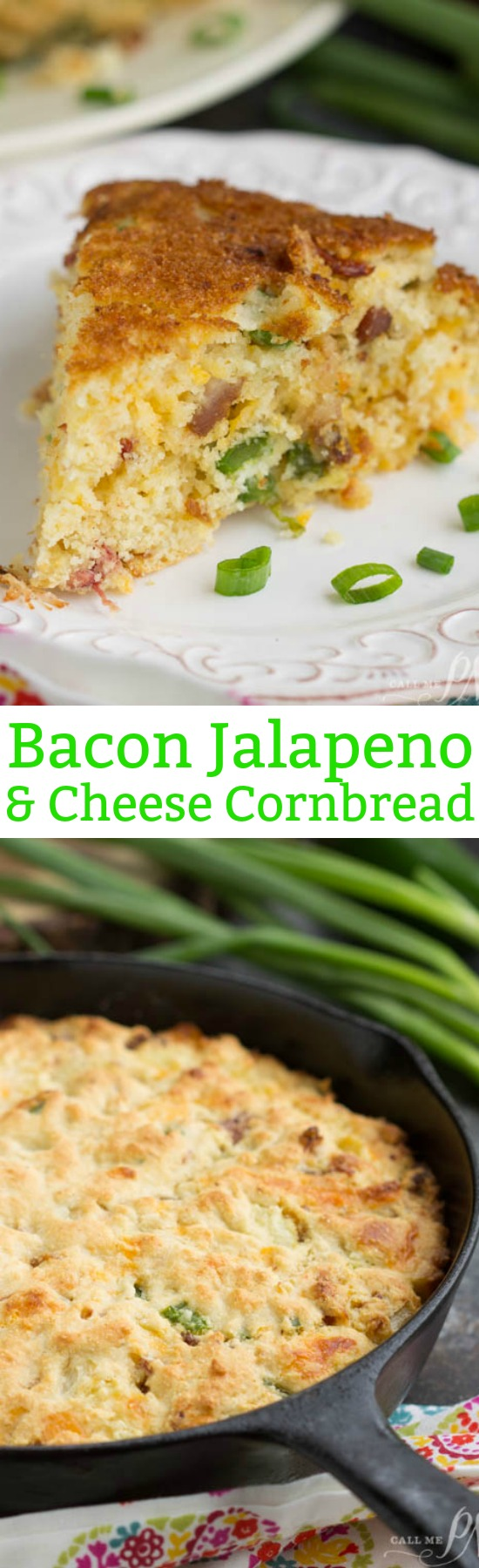 Slightly sweet and savory, Southern Cheesy Jalapeno Bacon Skillet Cornbread, is full of smokey bacon, spicy jalapenos, and cheese. Alone or as a side, this cornbread recipe is delectable!