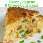 Slightly sweet and savory, Southern Cheesy Jalapeno Bacon Skillet Cornbread, is full of smokey bacon, spicy jalapenos, and creamy cheese. Alone or as a side, this cornbread recipe is so good!