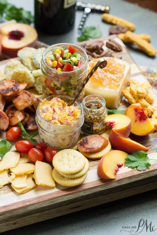 Black Eyed Pea Salsa recipe. Southern Inspired Charcuterie Board with Black Eyed Pea Salsa features crowd-pleasing Southern favorites both sweet and salty, crunchy and creamy for care-free evening entertaining.