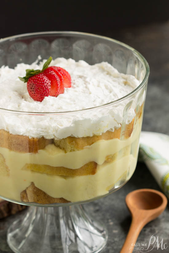 Dessert. Cake. Recipe. From Scratch Punch Bowl Pound Cake Trifle has layer after layer of cake, pudding, whipped cream, and fruit; it makes an easy and elegant dessert recipe. Light and simple to make, it is so delicious!