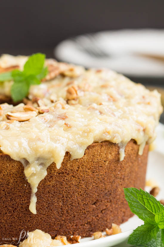 German Chocolate Pound Cake With Coconut Pecan Frosting Call Me Pmc