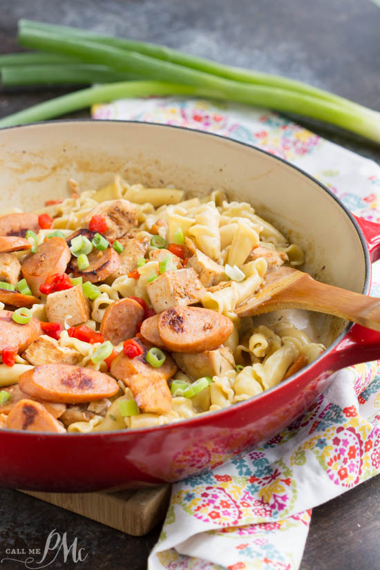 20 Minute Sausage and Chicken Cream Sauce Pasta has amazing flavor, a creamy sauce, and it only takes about 20 minutes to make! This is the perfect weeknight comfort food!