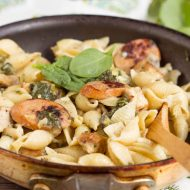Creamy Spinach Artichoke Sausage and Chicken Pasta