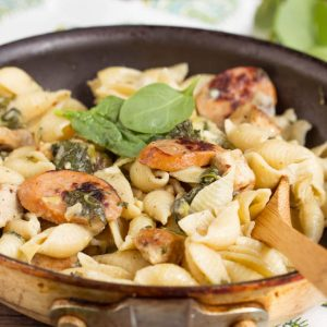 Creamy Spinach Artichoke Sausage and Chicken Pasta