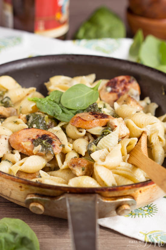 Hearty and flavorful, Creamy Spinach Artichoke Sausage and Chicken Pasta is a 20-minute weeknight meal for your family.