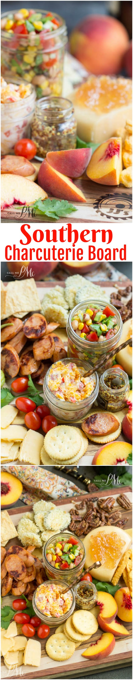 Southern Inspired Charcuterie Board with Black Eyed Pea Salsa features crowd-pleasing Southern favorites both sweet and salty, crunchy and creamy for care-free evening entertaining. #charcuterie #cheeseboard #meatboard #entertaining #easy #easyentertaining