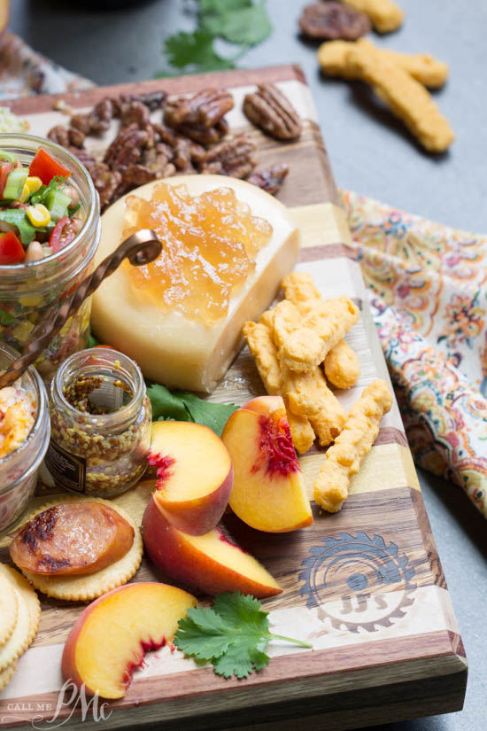Southern Inspired Charcuterie Board with Black Eyed Pea Salsa features crowd-pleasing Southern favorites both sweet and salty, crunchy and creamy for care-free evening entertaining.