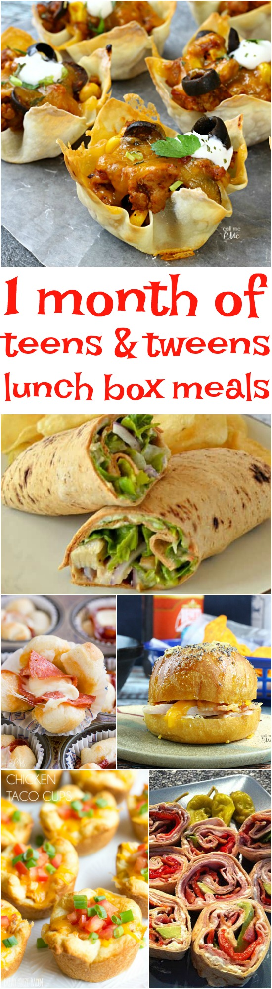 1 Month of Lunchbox Ideas for Tweens and Teens -try to remember when packing their lunches that meals high in fiber and protein will keep them full longer.