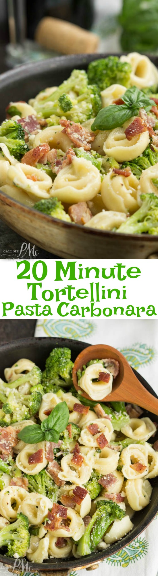 20 Minute Tortellini Pasta Carbonara. Bacon and broccoli are tossed with tortellini pasta and a light cream sauce for a scrumptious quick and easy meal. This easy mid-week pasta recipe is loaded with flavors and textures.