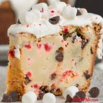 Candy canes are the epitome of Christmas for their beautiful color and minty flavor. Combined with chocolate this Crusty Candy Cane Chocolate Chip Pound cake recipe is the only dessert you need this holiday season!