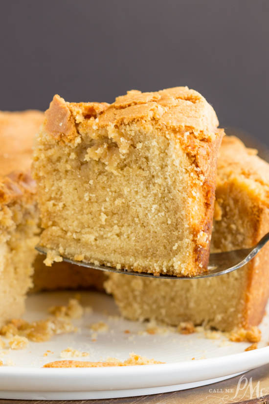 Recipe. Melt-in-your-mouth good, Cookie Butter Pound Cake is luscious and rich. The cookie butter gives it almost a brown sugar or caramel flavor. #poundcake #cake #dessert #cookiebutter #baking #homemade #fromscratch #recipe #blueribbon