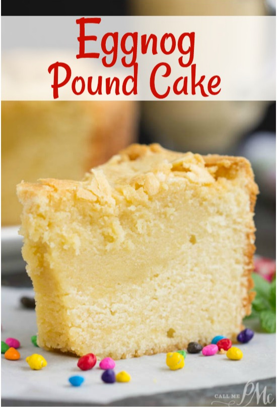 Use your favorite eggnog to make this buttery Eggnog Pound Cake. Combining the flavors of eggnog in a pound cake will get you rave reviews at your holiday celebrations. #cake #poundcake #poundcakepaula #dessert #recipe