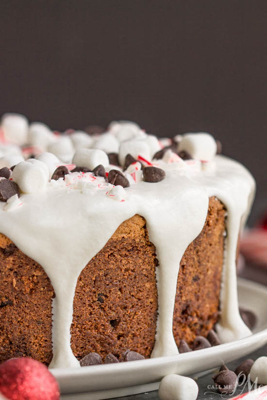 A festive Christmas cake, Crusty Candy Cane Chocolate Chip Pound Cake, will have your guests raving for more! #cake #poundcake #poundcakepaula #dessert #recipe #Southern #classic #easy #chocolatechip #peppermint #candycane #Christmas #holiday #holidaycake