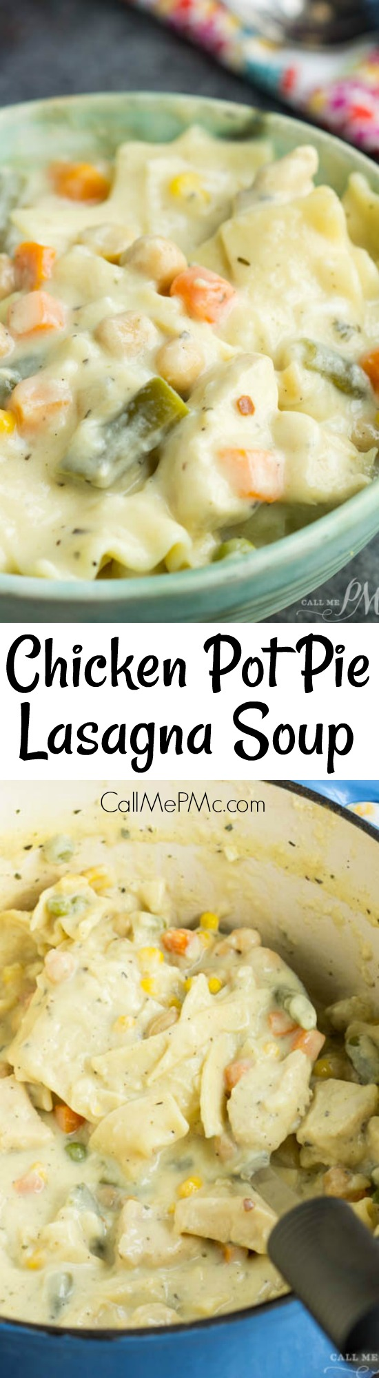 Comfort food. Chicken Pot Pie Lasagna Soup Recipe is an easy one-pot soup recipe your entire family will love!This is the perfect mix of a hearty, comfortingchicken pot pie, lasagna, and soup all in one dish.