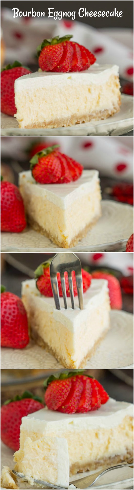 Woodford Reserve Bourbon Eggnog Cheesecake with Vanilla Wafer Crust recipe bakes rich eggnog and a shot of bourbon into your favorite smooth and creamy cheesecake. Your two favorite holiday beverages in dessert form!