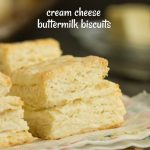 Fluffy and tender Cream Cheese Buttermilk Biscuits are made with butter, cream cheese, and buttermilk. Bake up a batch of this homemade biscuit recipe, they easy and tasty!