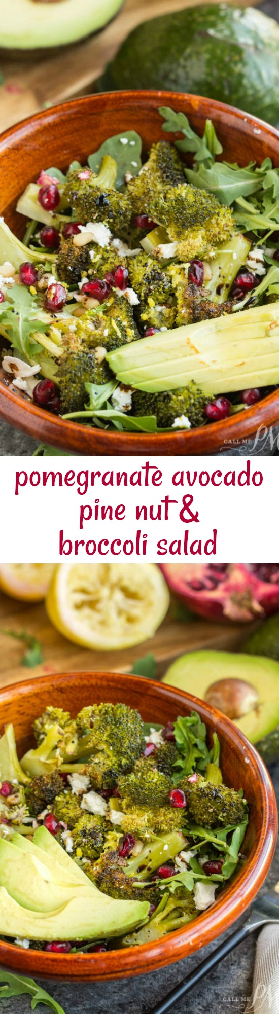 Pomegranate Avocado and Pine Nut Roasted Broccoli Salad packs a flavorful punch. One bite and this salad will be your new favorite.