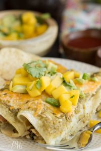 lighter salsa verde chicken enchiladas with avocado mango salsa