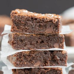 Chewy, Gooey and super chocolatey, The Best Chewy Fudgy Homemade Brownies is a fudgy chocolate brownie that's moist and decadent. If you thought you couldn't make fudgy brownies without a box mix…you were wrong.