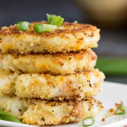Crispy panko crusted Leftover Loaded Mashed Potato Pancakes are a fun and delicious way to enjoy leftover mashed potatoes. They go from fridge to table in just minutes.