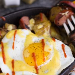 Sausage Potato Hash Fried Eggs Benedict Recipe